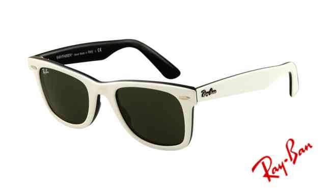 ray ban black wayfarer sunglasses  Ray Ban RB2140 Wayfarer Sunglasses Top White on Black Frame