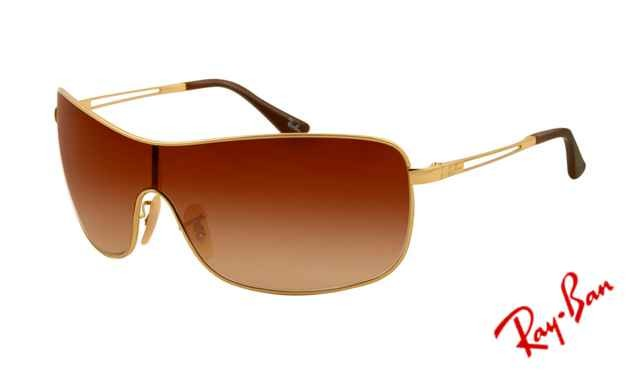 ray ban golden frame  Fake Ray Ban RB3466 Sunglasses Gold Frame Brown Gradient Lens